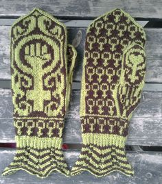 Hand knit feminist mittens Gudrun - light green/dark brown (480.00 SEK) by asfaltsflickandesign