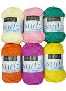 """""""Sudz"""" by Estelle. Fabulous dishcloth cotton in a wonderfully bright range of colours. And not just for your kitchen sink! This knits up beautifully as facecloths too! Dishcloth, Whats New, Kitchen Sink, Drink Sleeves, Knits, Range, Colours, Knitting, Crochet"""