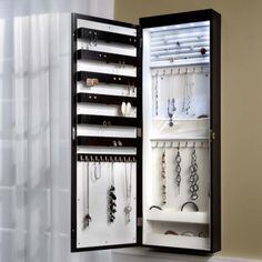 LED Lighted Jewelry Armoire with Mirror