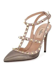 X37M6 Valentino Rockstud Leather 100mm Pump, Sasso/Poudre