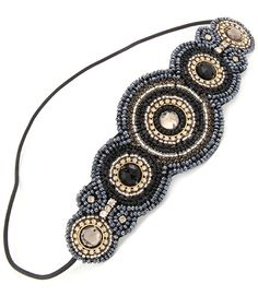 """Your hair accessories are completely lacking if you do not have this headband in the collection. This headband is GORGEOUS, studded, beaded, and amaaaazing.   It's got crystal studs and beads.  2"""" wide across the top.  This headband would look adorable on the side with your hair down, or go..."""