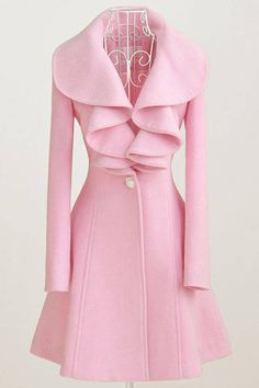 New Style V Neck Long Sleeve Single Breasted Long Pink Coat