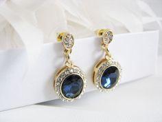 Deep Sapphire Crystals Rhinestones Bridal Wedding Jewelry Earrings Crystal Bridal Statement Necklace, Gold Crystal Wedding Earrings by weddingswithflair on Etsy