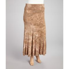 Poliana Plus Brown Tie-Dye Maxi Skirt (1,460 INR) ❤ liked on Polyvore featuring skirts, plus size, plus size long maxi skirts, long ankle length skirts, plus size tie dye maxi skirt, brown maxi skirt and plus size skirts