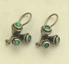 Sterling silver oxidized earrings with blue opal by silvercrush