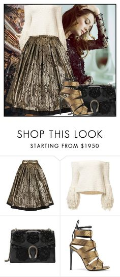 """""""Louise"""" by deuxpalms ❤ liked on Polyvore featuring Versace, Gucci, Tom Ford, floral, skirt, Heels, Sweater and metallic"""