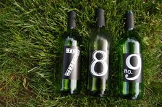 Set of 3 chalkboard painted wine bottles for by DowntownDoodler