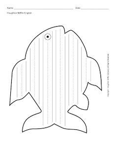 Educate & Celebrate, Inc.: Schrijfblad vis (ook zonder hulplijnen)