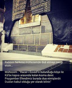 """Rabbim herkese mültezemde duâ etmeyi nasip etsin...  Mültezem : """"Hacer-i Esved'in bulunduğu köşe ile Kâ'be kapısı arasında kalan kısma denir. Peygamber Efendimiz burada dua etmişlerdir. Duaları kabul olduğu yer olarak bilinir.""""  #mültezem #mekke #kapı #namaz #islam #kabe #dua #amin #kabul #hayırlıcumalar #ilmisuffa"""