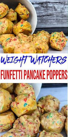 SUPER EASY Weight Watchers Pancake Poppers! Weight Watchers Pancake Recipe! Try the BEST funfetti pancake bites for a Weight Watchers diet. Skinny WW recipe with smartpoints. Healthy WW recipe. A simple Weight Watchers breakfast recipe for yummy food. Weight Watchers funfetti pancake muffins you will love! Great Weight Watchers dessert, Weight Watchers breakfast, Weight Watchers snack - grab and go!#weightwatchers #smartpoints #weightwatchersrecipes  = click for the secret ingredient :)
