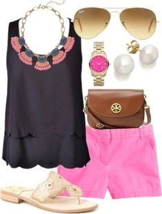 Adorable Pink Shorts Outfit Idea