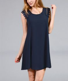 Loving this Navy Lace-Sleeve Shift Dress on #zulily! #zulilyfinds