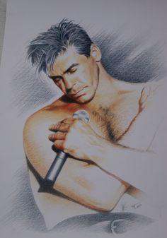 Rammstein Till Lindemann, Unknown artist artwork, Sketch drawing reprint poster…