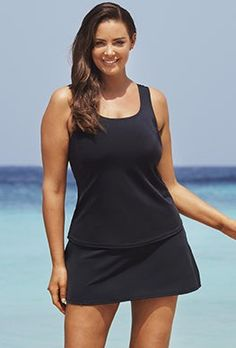 Tankini set swimsuits are practical yet stylish. Check out our huge selection of all tankini set swimwear at Swimsuits For All. Black Tankini, Tankini Top, Swimsuits For All, Skirts For Sale, Swim Dress, Beachwear, Bathing Suits, Bikinis, Swimwear