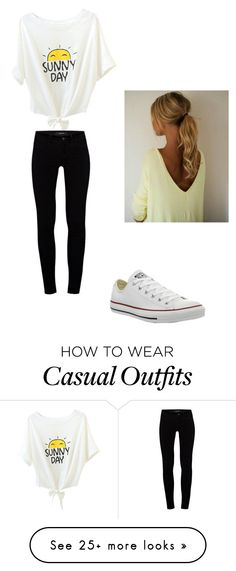 """casual outfit"" by mariah-rose1 on Polyvore featuring J Brand and Converse"