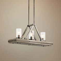 "Colerne 35 3/4""W Classic Pewter 6-Light Linear Pendant"
