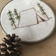 Who loves tent camping? This quick and easy embroidery pattern would make a grea… Who loves tent camping? This quick and easy embroidery pattern would make a great gift for the nature lover in your life. Get the PDF pattern and you can stitch it tonight! Embroidery Stitches Tutorial, Embroidery Transfers, Machine Embroidery Patterns, Hand Embroidery Designs, Vintage Embroidery, Embroidery Techniques, Ribbon Embroidery, Embroidery Ideas, Embroidery Sampler