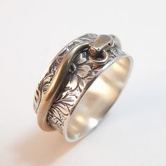 Snake in the Grass Spinner Ring  Silver by DownToTheWireDesigns