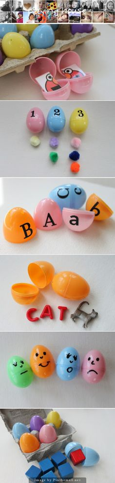 10 Fun Learning Games Using Plastic Eggs - Here are some egg-celent learning games to play with your child!! Take advantage of the plastic Easter eggs in stores for additional fun and learning!