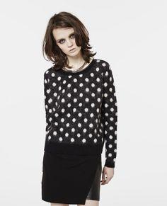 Leather trimmed polka dot sweater - Knitwear - Women - The Kooples