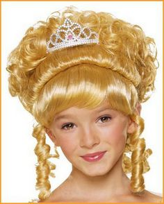 Kids Charming Princess Wig - upswept curls with dangling curls, full bangs and an attached princess tiara, available in blonde, brown or black. Kids Wigs, Girls Tiara, Full Bangs, Disney Princess, Hair, Color, Products, Fashion, Elegant Hairstyles