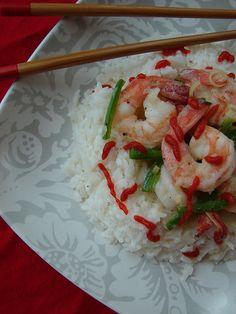 garlic lemongrass shrimp with coconut rice