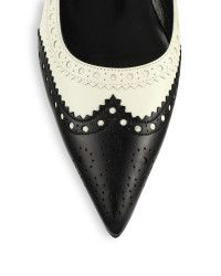 Gucci Gia Point-toe Leather Flats in Black (black-white)   Lyst
