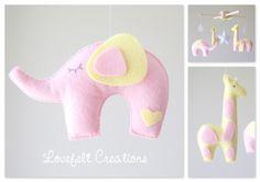 READY TO SHIP Elephant Mobile Baby Mobile Pink por LoveFeltXoXo