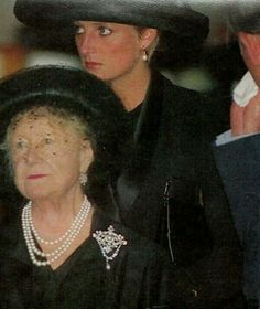 July 15, 1993: Princess Diana with the Queen Mother & Prince Charles at the funeral of Ruth, Lady Fermoy, Princess Diana's maternal grandmother & the Queen Mother's Lady-In-Waiting
