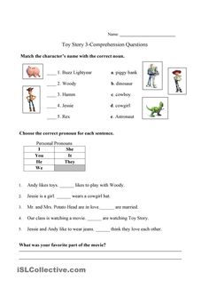 Toy Story 3 - English Esl Worksheets images ideas from Worksheets Ideas Comprehension Exercises, Comprehension Questions, Reading Comprehension, Toy Story Theme, Toy Story 3, Kids Math Worksheets, Free Printable Worksheets, Space Theme, Character Names