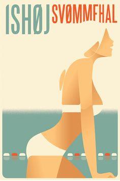 Mads Berg 'Ishoj' Art Deco Danish Poster | Chairish