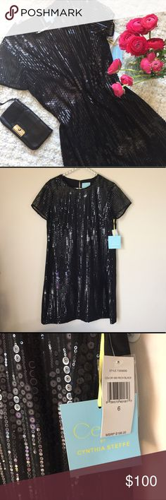 "CeCe by Cynthia Steffe Black Sequined Shirt Dress CeCe by Cynthia Steffe Rich Black Sequined Shirt Dress with Pockets. Flat measurements (approx): 34""L (shoulder to bottom) x 18""W (armpit to armpit). Dress Only. Clutch available in my closet.   ⭐️ Bundle & Save, Posh Rules Only ⭐️ All Offers Accepted or Countered CeCe by Cynthia Steffe Dresses"