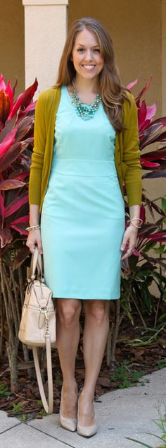 love the color combo! - I have a sweater in that color, never thought to pair it with mint