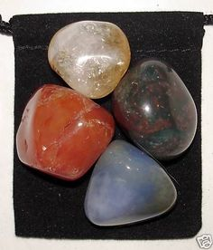 PHYSICAL ENERGY BOOST Tumbled Crystal Healing Set = 4 Stones + Pouch + Card