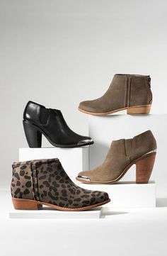 Love the suede booties on the right.  Looking forward to wearing them this fall!