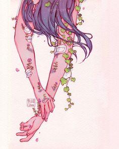 Art by Qinni Art Drawings Sketches, Cute Drawings, Aesthetic Art, Aesthetic Anime, Dessin Old School, Qinni, Arte Sketchbook, Cute Art Styles, Sad Art