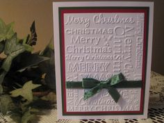 Handmade Embossed Red/Green Merry Christmas Card
