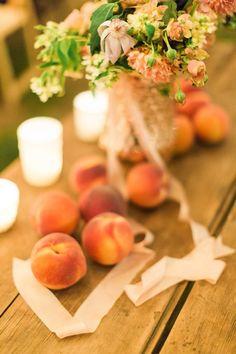 peach centerpiece | Haley Sheffield #wedding
