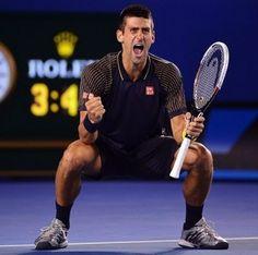 Novak Djokovic celebrates his third straight Australian Open title with some sweet dance moves.