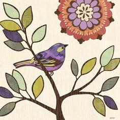 Bird Bliss 2 Purple by Jennifer Brinley | Ruth Levison Design