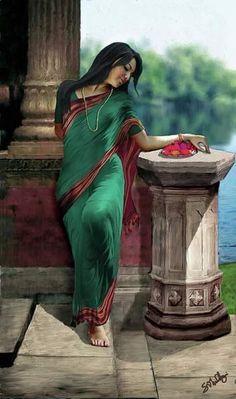 Punjab artwork of a girl, India/Pakistan Sexy Painting, India Painting, Art Painting Gallery, Woman Painting, Painting Art, Indian Women Painting, Indian Art Paintings, Ravivarma Paintings, Happy Paintings