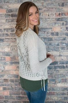 Arpeggio Mixed Stitch Open Cardigan with Lace Up Sides