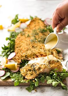 Baked Parmesan Crusted Salmon with Lemon Cream Sauce - easy and fast to make, can be prepared ahead, a stunning centrepiece for Christmas dinner and yet easy enough for midweek. That Lemon Cream sauce is the perfectly finishing tough. Salmon Recipes, Seafood Recipes, Cooking Recipes, Healthy Recipes, Ham Recipes, Recipes Dinner, Crockpot Recipes, Sauce A La Creme, Parmesan Crusted Salmon