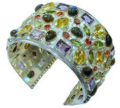 $362.15 Huge!! 135.2g Love Attraction! Multigem Sterling Silver Bracelet / Cuff at www.SilverRushStyle.com #bracelet #handmade #jewelry #silver #multigem