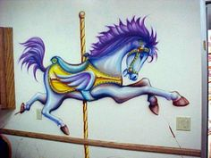 "wall mural airbrush | Dr. Sykes Pediatric office. The purple horsy in the ""Carosel Room ..."