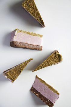 Raw Brownie Bottomed Pistachio Strawberry Cheesecake