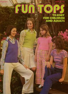 FUN TOPS TO KNIT FOR CHILDREN AND ADULTS, Leaflet No. 36, copyright 1973 by Leisure Arts, 4 pages not including front and back covers. Includes patterns for a knitted shrink, which can be made either sleeveless or with cap sleeves, and a knitted vest, which can be made as a long cardigan, a long slipover, a short cardigan, or a short slipover.All versions can be made in child and adult sizes. #LeisureArts #VintageKnittingPatternLeaflet