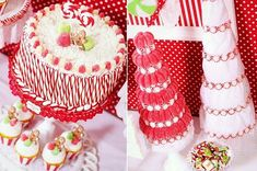 Christmas Cake and Cupcakes - Decorate with Candy Canes, Gumdrops, and Gingerbread Men