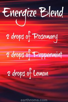 Energize Diffuser Blend - Add this blend to your diffuser to energize yourself and get going! 2 drops of Rosemary essential oil. 2 drops of Peppermint essential oil. 2 drops of Lemon essential oil.