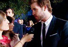 Jennifer Lawrence interrupting Liam Hemsworth's interview.